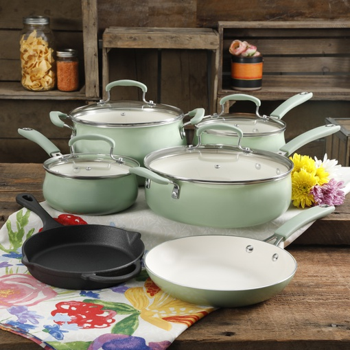 The Pioneer Woman Classic Belly 10 Piece Ceramic Non-stick ...